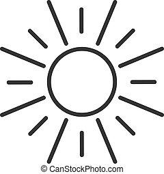 szkic, słońce, odizolowany, tło., sun., czarnoskóry, biała lina, ikona