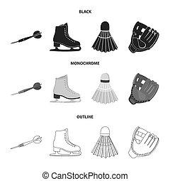 szkic, styl, symbol, bitmapa, wolant, ciska, komplet, łyżwy, rękawiczka, pień, sport, web., monochromia, kometka, ikony, game., czarnoskóry, łyżwa, ilustracja, ciska, zbiór, biały