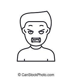 szkic, tło., ikona, editable, znak, linearny, wektor, ilustracja, kreska, symbol, biały, pojęcie, uderzenie, cienki, sieć, odizolowany, gniewny, projektować