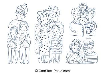 szkic, wnuki, dziadkowie, set., ręka, collection., ilustracje, pociągnięty, szczęśliwy