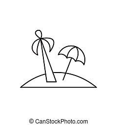 szkic, wyspa, odizolowany, dłoń, tło, biały, ikona