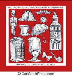 szkice, anglia, podróż, pożądany, symbolika, londyn, uk