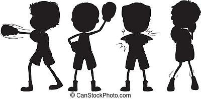 szkice, bokser, czarnoskóry