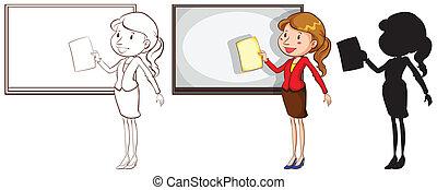 szkice, kolory, różny, nauczyciel
