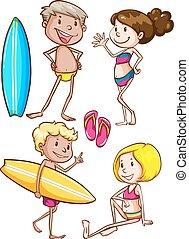 szkice, od, przedimek określony przed rzeczownikami, dzieciaki, cieszący się, na plaży