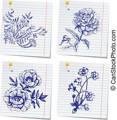 szkicownik, hand-drawn, kwiat, komplet, doodle