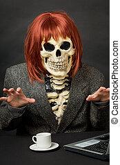 szkielet, halloween, -, włosy, zabawny, czerwony