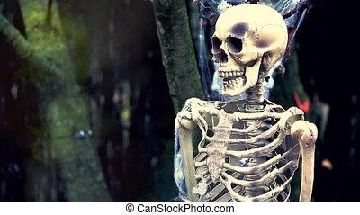 szkielet, płonący