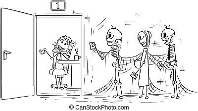 szkielety, koniec, konający, ludzie, urzędnik, trzy, ilustracja, rysunek, kolejka, telefon, usługiwanie, rozmowa telefoniczna, kreska, albo