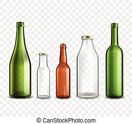 szklane butelki, przeźroczysty