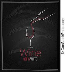szklane wino, chalkboard, tło, menu