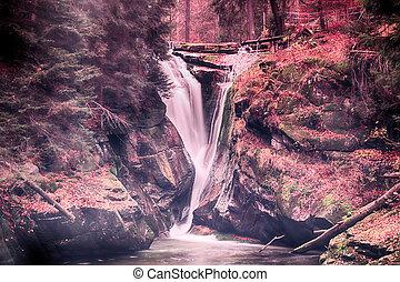 szklarka, cachoeira, em, karkonosze, montanhas, szklarska, poreba, polônia