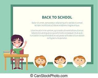 szkoła, afisz, nazad ręka, wychowywanie, uczeń