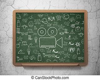 szkoła, Aparat fotograficzny, deska, tło, turystyka,  concept:
