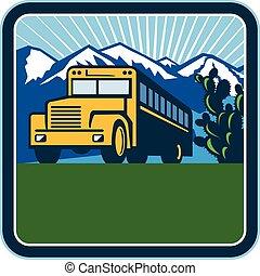 szkoła autobus, kaktus, góry, skwer, retro