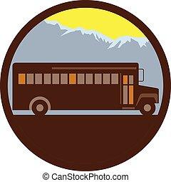 szkoła autobus, rocznik wina, góry, koło, retro