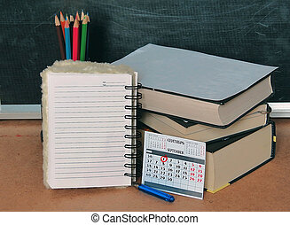 szkoła, biuro, -, wstecz, biurko, zaopatruje