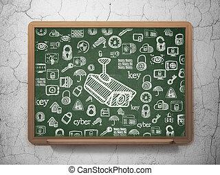 szkoła,  CCTV, Aparat fotograficzny, Bezpieczeństwo, deska, tło,  concept: