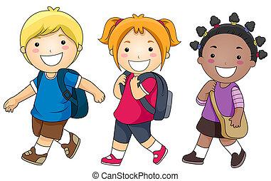 szkoła, chodzenie