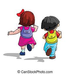 szkoła, chodzenie, dzieciaki