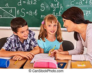 szkoła, classroom., dziecko, posiedzenie
