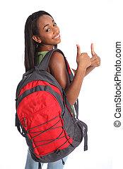 szkoła, dodatni, do góry, amerykanka, kciuki, afrykanin, dziewczyna