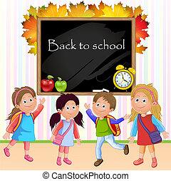 szkoła dzieci, ilustracja