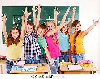 szkoła, dziecko, classroom., grupa