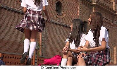 szkoła dziewczyna, student, taniec