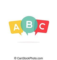 szkoła, emblemat, język, alfabet, wektor, nauka, angielski, odznaka, logo, ikona