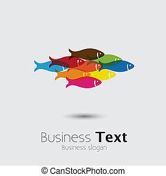 szkoła, graficzny, barwny, wektor, together-, ryby