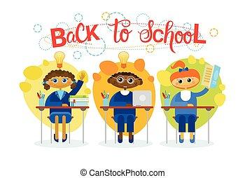 szkoła, grupa, uczniowie, posiedzenie, biurko, wstecz,...