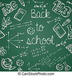 szkoła, ikony, próbka, wstecz, seamless, tło., editing., wektor, zieleń chalkboard, odpoczynek, wykształcenie, płatowaty