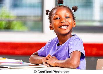 szkoła, jej, amerykanka, biurko, elementarny, dziewczyna, afro, szczęśliwy