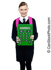 szkoła, kalkulator, wielki, zielony, dzierżawa, dziewczyna