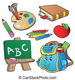 szkoła, kartony, zbiór