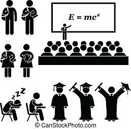 szkoła, kolegium, uniwersytecki student