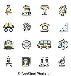 szkoła, komplet, barwny, ikona