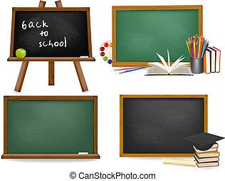 szkoła, komplet, blackboards., ba, deska