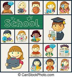 szkoła, komplet, dzieciaki, ikony