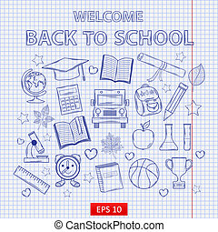 szkoła, komplet, listek, kawałek, wstecz, notatnik