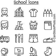 szkoła, komplet, &, styl, cienka lina, wykształcenie, ikona