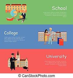 szkoła, komplet, university., wektor, kolegium, chorągwie