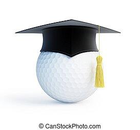 szkoła, korona, golf, skala