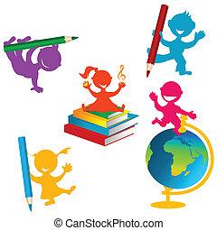szkoła książki, wstecz, tło, dzieci