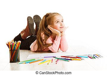 szkoła, myślenie, natchnienie, pojęcie, inspirujący, rysunek, student, śniący, biały, wykształcenie, dziecko, dziewczyna, koźlę