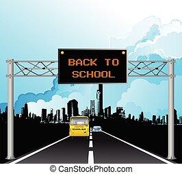 szkoła, na górze, znak, wstecz, kętnar