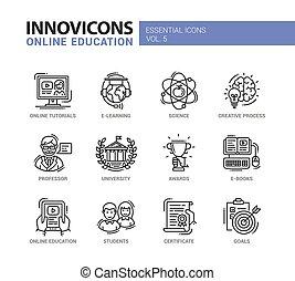 szkoła, nowoczesny, ikony, piktogramy, projektować, cienka lina, wykształcenie