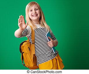 szkoła, odizolowany, wysoki, zielone tło, piątka, uśmiechnięta dziewczyna