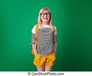 szkoła, odizolowany, zielone tło, dziewczyna uśmiechnięta